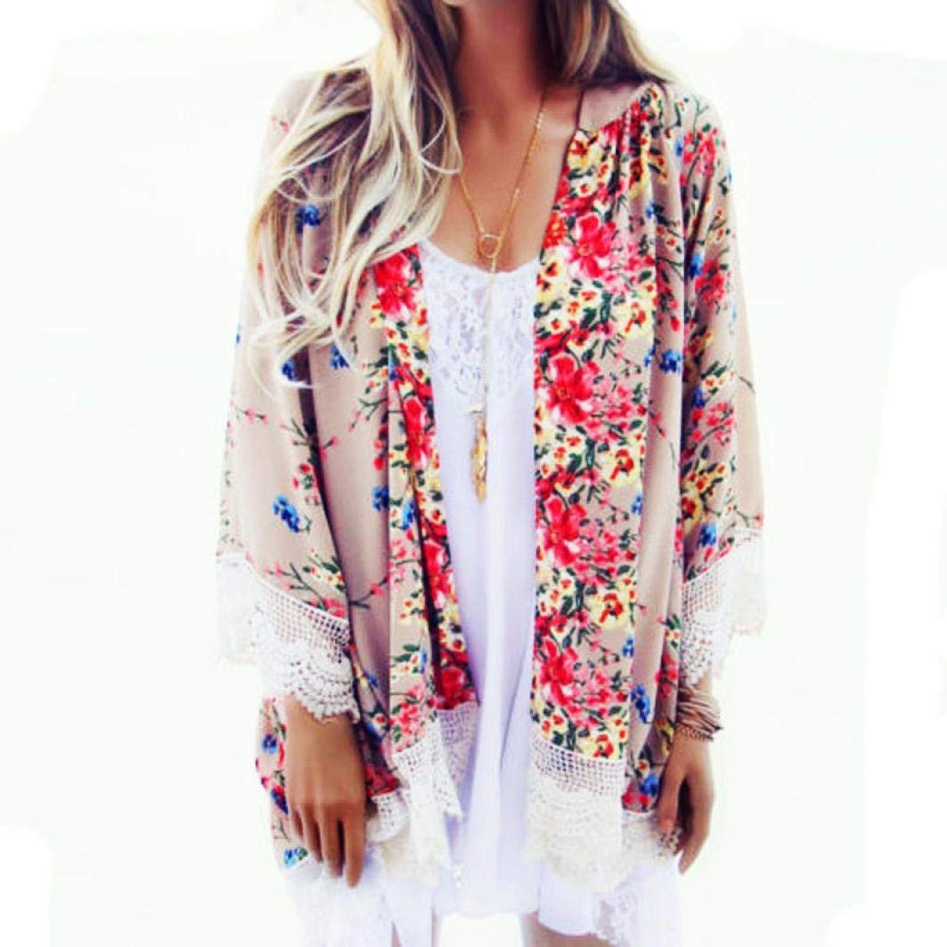 Womens Open Front Lace Floral Kimono Cardigan Loose Chiffon Summer Outerwear Top Blouse