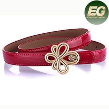 ladies fashion belt cowhide leather Belt With Metal flower buckle decoration LB3486