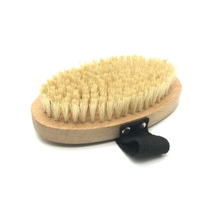 Sisal bristle dry skin wooden bath body brush with strap