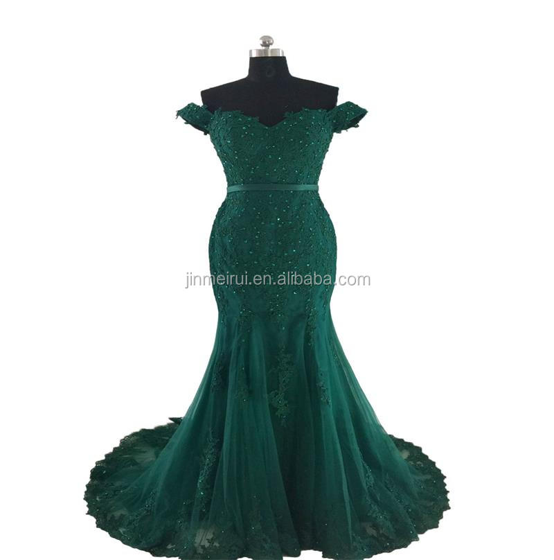 New Design Exquisite Sleeveless Sweep Train Beaded Off-The-Shoulder Backless Zipper Buttons Women Prom Dress