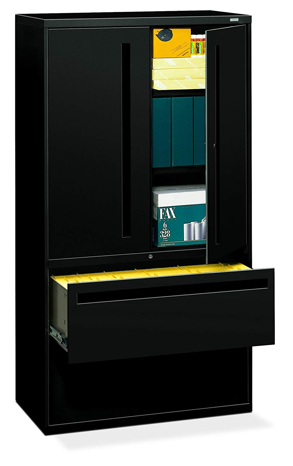 """HON 2-Drawer with 3 Shelves Office Filing Cabinet - Brigade 700 Series Lateral File Cabinet, 36"""" Wide, Black (H795LS)"""