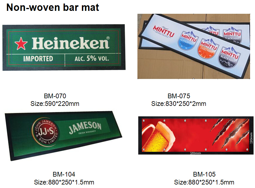 CAMPARI Promotional PVC logo bar mats/Logo Embossed Soft PVC Runner Bar Mat
