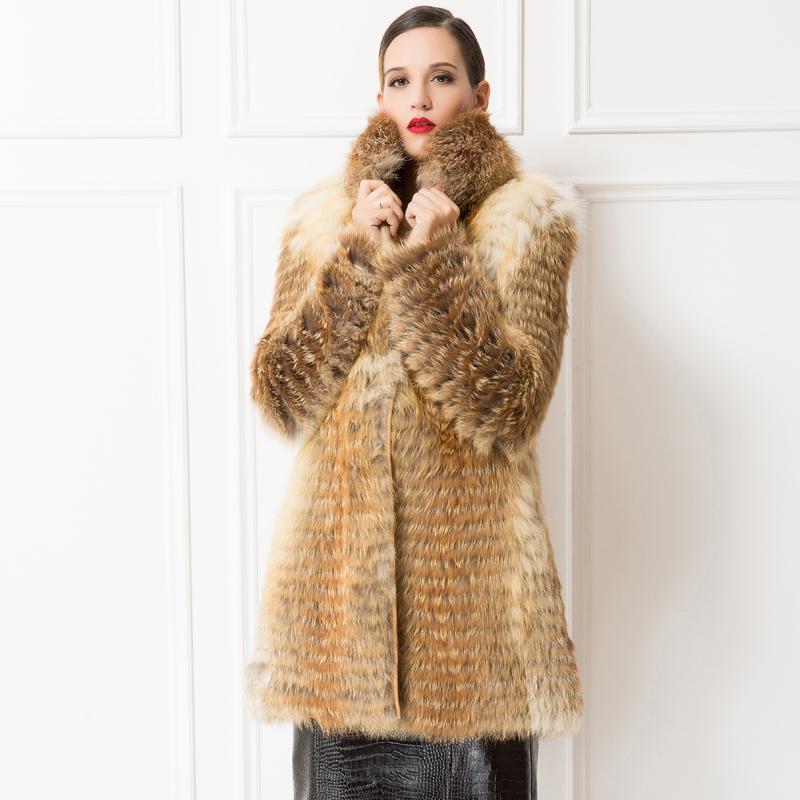 f2d9e169658 Get Quotations · Luxury Women s Genuine Red Fur Collar Outerwear Full Pelt  Band Fox Fur Coat Ladies Natural Long