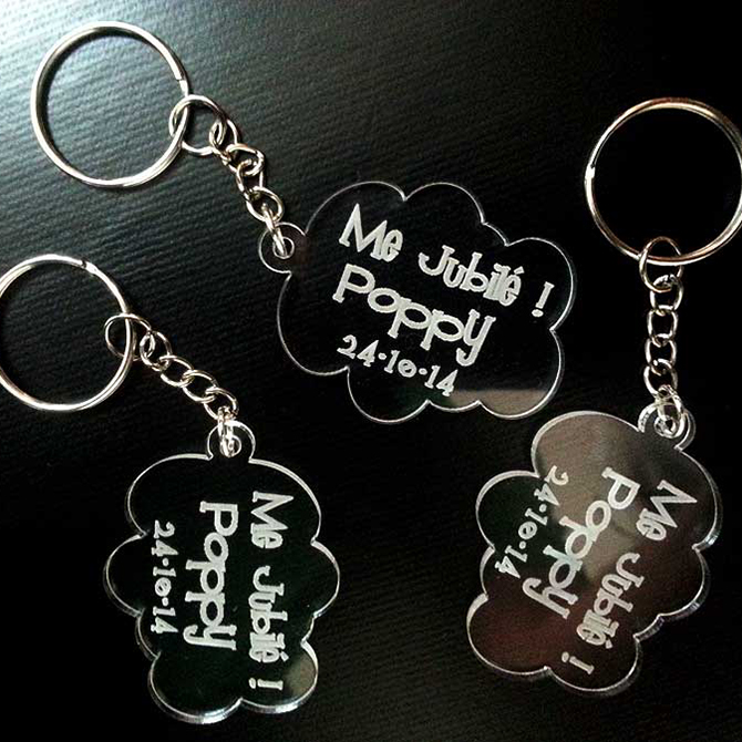 Laser Cut Lovely Cloud Shaped Clear Acrylic Key Chain with name and date