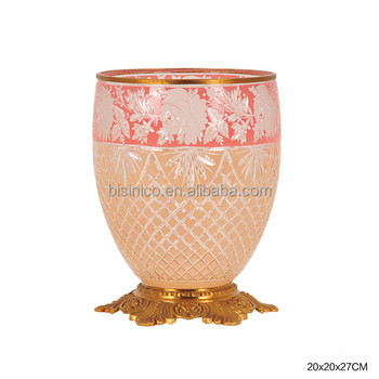 Elegant Colored Textured Glass Decorative Vase With Gilt Bronze