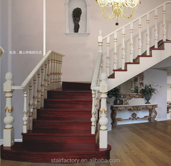 European Fashion Wooden Staircase, Beech, Oak Staircase, Solid Wood Treads,  Wood Railings