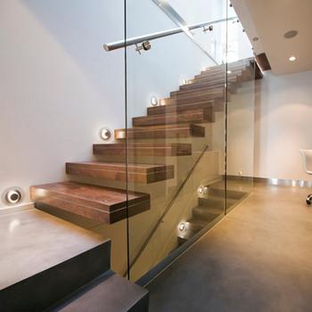 Flotante interior escalera con pasamanos de la escalera de - Pasamanos de cristal para escaleras ...