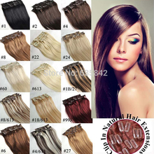 Europeans Hairpiece Clip In Hair Extensions 100% Real Natural Human Hair Straight 15 18 20 22 24 Inches Full head 28Colors
