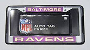 Baltimore Ravens NFL Rico Laser Cut Chrome License Plate Frame! Officially Licensed Top of the Line Metal Plate Frame ! Showcase your Team Spirit when you're on the Road and set yourself apart in Traffic! Easy to Mount and Highly Durable! A Great Team Collectible ! Makes a Great Gift!!