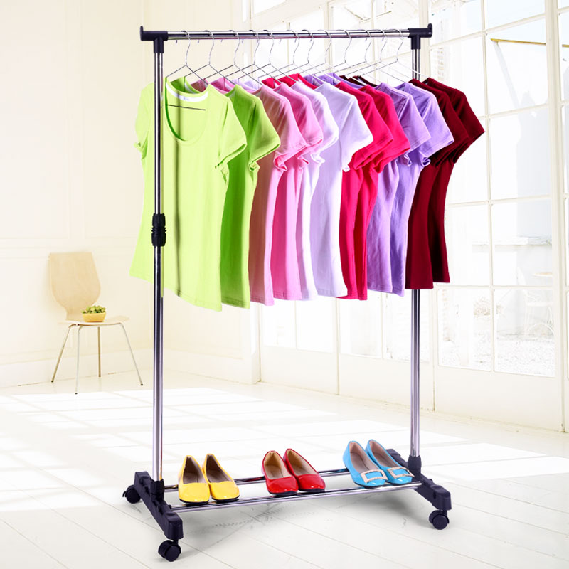 single pole clothes hanger rack stand clothing rack with wheel