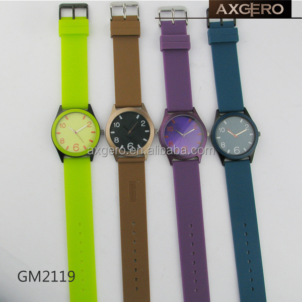 China watch manufacturer wholesale promotional watches with silicone strap for many colors strap watches