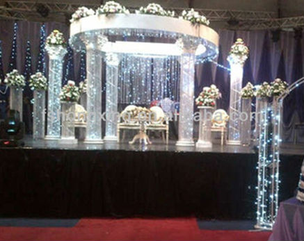 Custom-made big white wedding mandap backdrop with crystal hanging