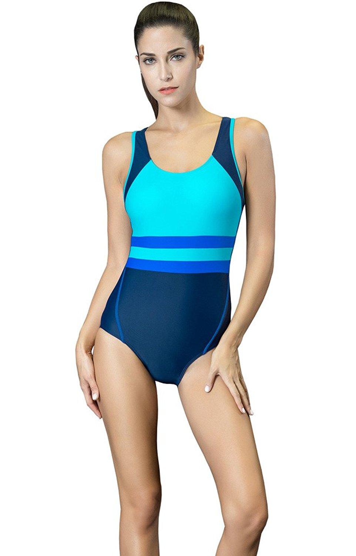 35e342b4da Get Quotations · Winday Women s Backless Splice One Piece Swimsuit + Boxer Boyleg  Swimsuit