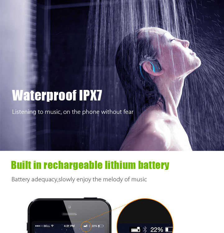 Multifunctional warm white and cool white bluetooth earphone waterproof swimming