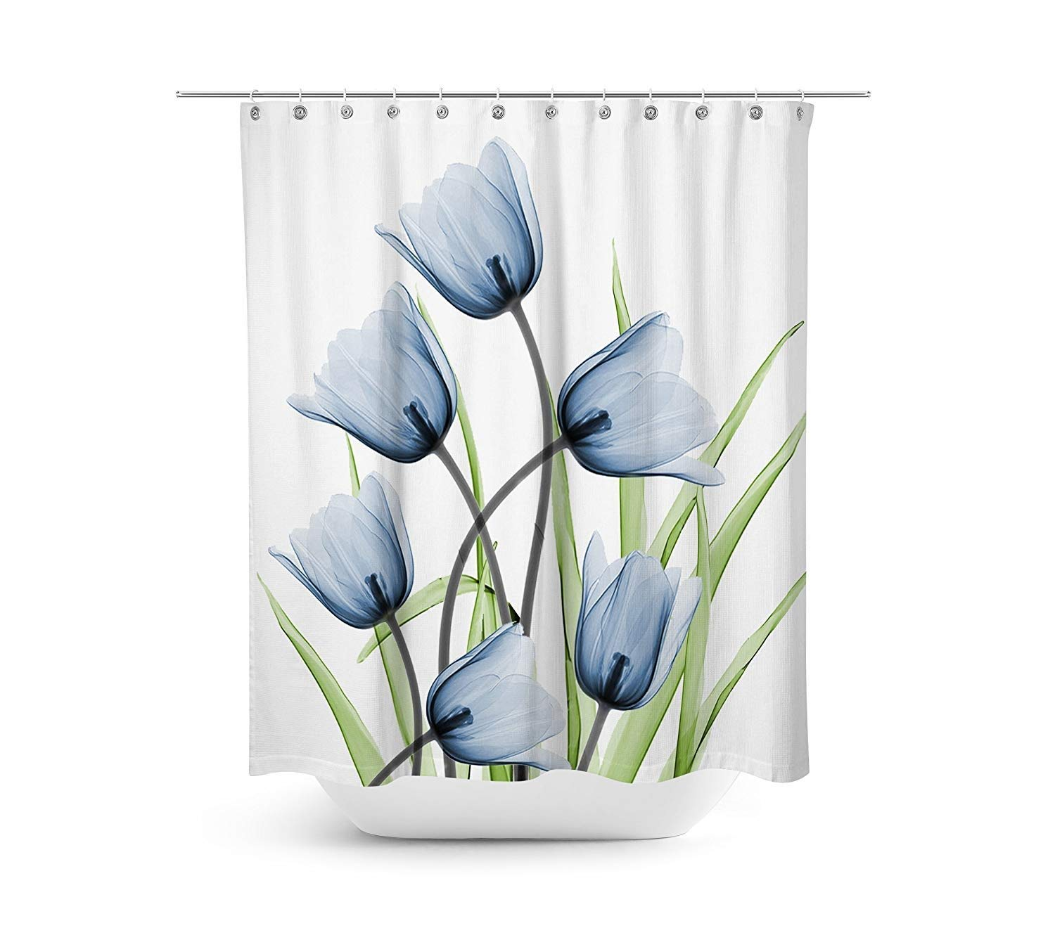 Get Quotations Floral Fabric Shower Curtain Set 72x 72 Thick Bathroom CurtainsWhite With