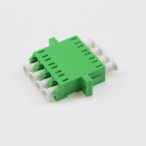 Hot selling SC APC Quad SM Fiber Optic Adapter Green Color With Flange