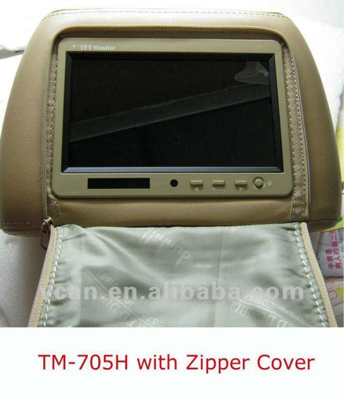 7 inch Headrest monitor pillow bag LED backlight LCD monitor zipper TM-705H in car use replacement easy install