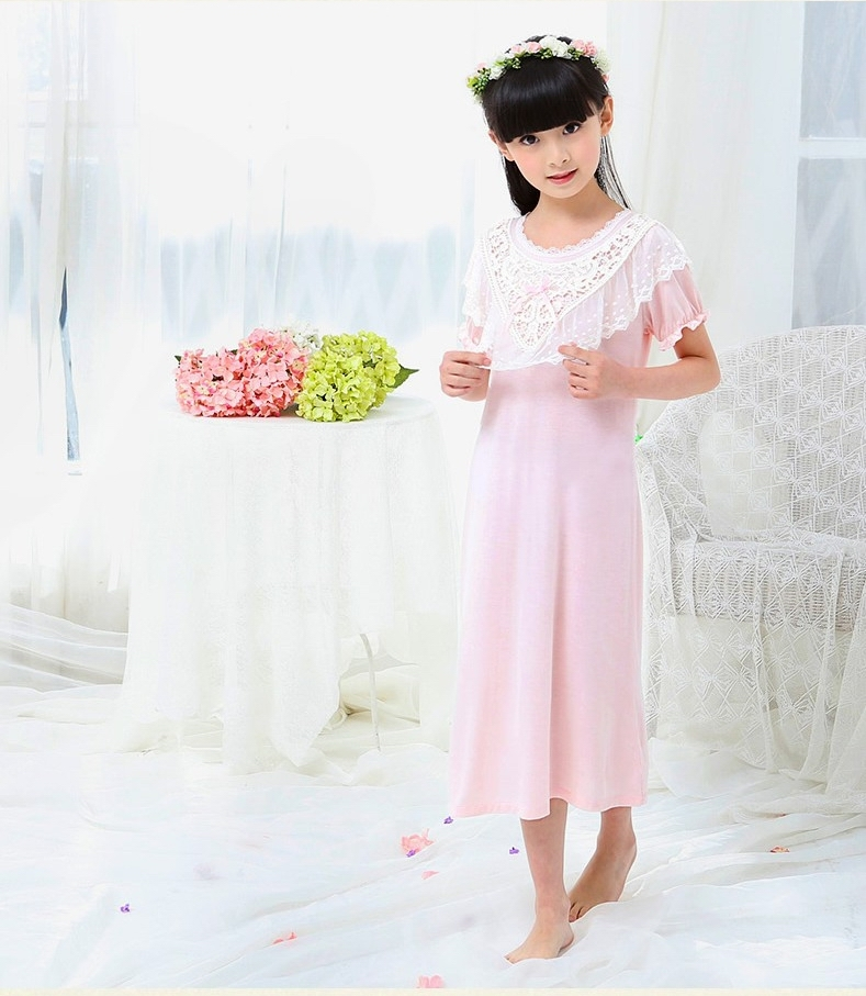 Buy Wisdom Kids Pajamas Girls Sleeping Dress Short Sleeve Cotton ...