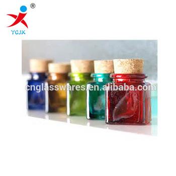 New Design Mini Decorative Colored Glass Square Jar Bottles With