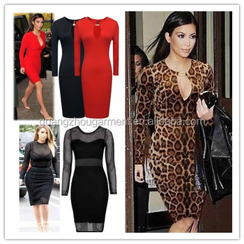 PLUS size kim kardashian celebrity Open Front Long Sleeve Bodycon ...