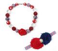 Nice Red Resin Flower Pendant Chunky Necklace Kids Princess Girl Pearl Headband Bubblegum Toddler Jewelry Set