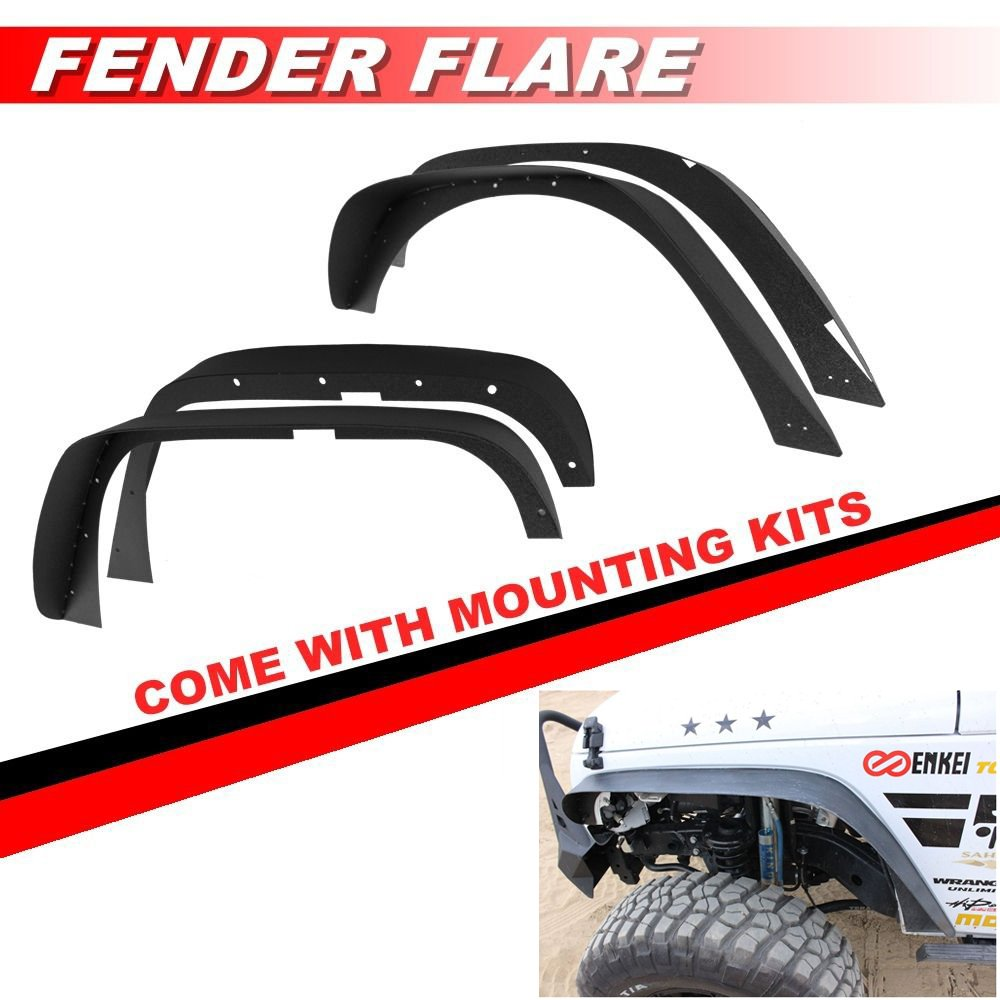 Fender Flares Fits 2007-2018 Jeep Wrangler JK Flat Style Textured Black ABS Front Rear Right Left Wheel Cover Protector Vent by IKON MOTORSPORTS