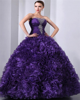 Purple Sleeveless Sweetheart Elegant Beaded Sequins Floor Length Evening Gowns Lace-up 2018 Piping Quinceanera Dresses