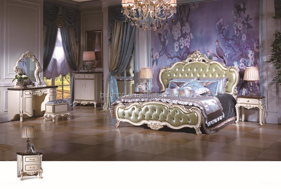 Letti Di Lusso In Pelle : Bisini furntiure camera da letto di lusso in pelle set antico