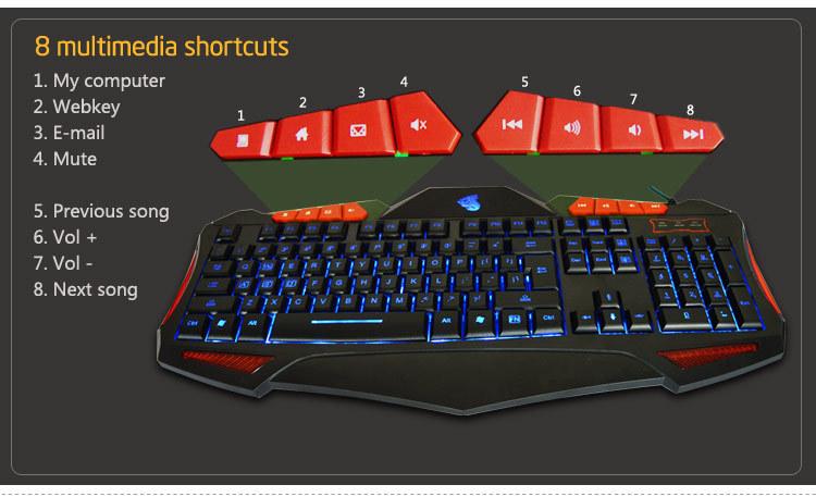 Wholesale 12 multimedia keys backlit game changeable color pc ...