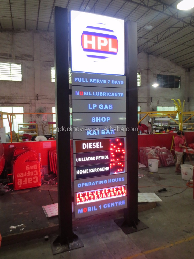 Free standing gas station sigange gas station pillar island canopy pylon sign board with price