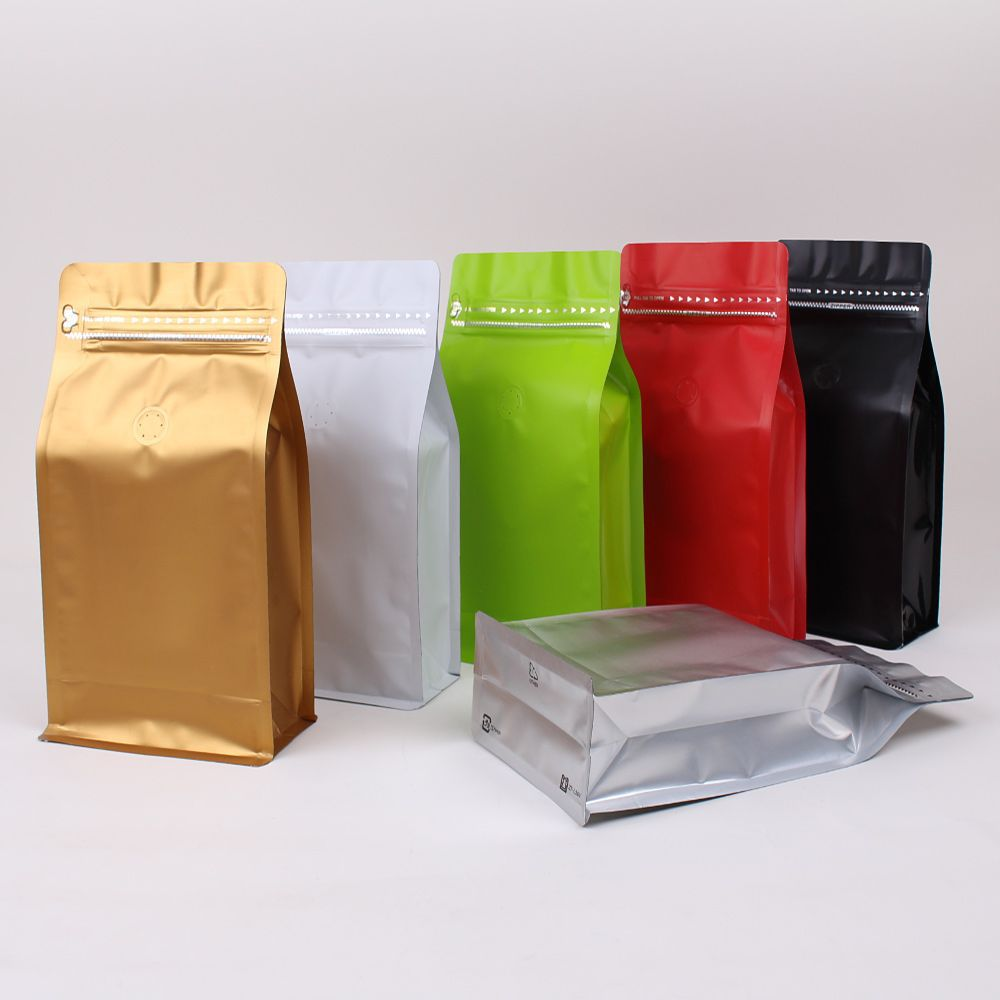 Factory Custom Printed logo Packaging bag Resealable Flat Bottom Stand Up Zipper value Pouch Coffee Bag with tin tie