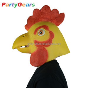 cosplay party mask latex rubber cockerel chick rooster head chicken cock mask
