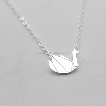 Fashional Brid Origami Necklace Crane Necklaces Women Gold Plated