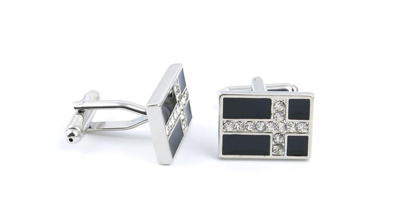 1 pair Gift Classic Cloth Party Shirt Bouton Manschettenknopf Cufflinks DL1H1 Diamond Cross