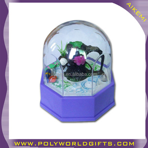 AKM acrylic snow globe with photo insert,promotion plastic snow globe with blowing snow,plastic souvenir gift snow globes
