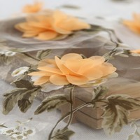 China textile 3D flower embroidered digital printed organza woven polyester fabric for woman clothes