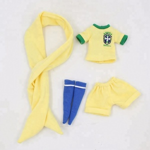 Lovely doll dress yellow shirt shorts leggings brasil clothes soccer football team uniform for blyth icy doll clothes