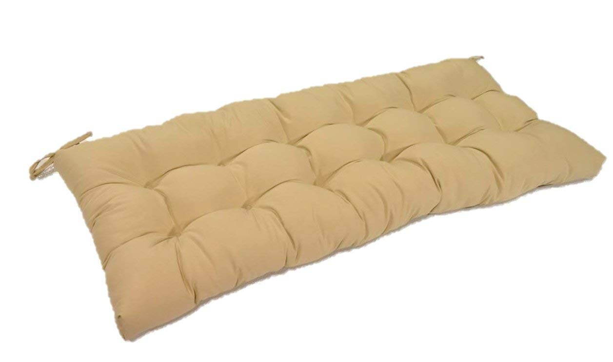 "Resort Spa Home Decor Tan Solid Tufted Cushion for Bench, Swing, or Glider, Choose/Select Size (55 1/2"" x 18"")"