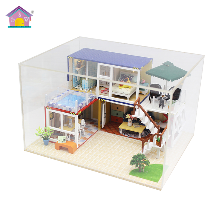 Good quality with light and furniture wooden dollhouse mini diy projects