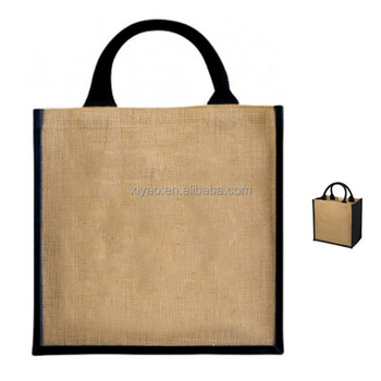 Blank Jute Ping Bag Whole Grocery Black Tote Promotional