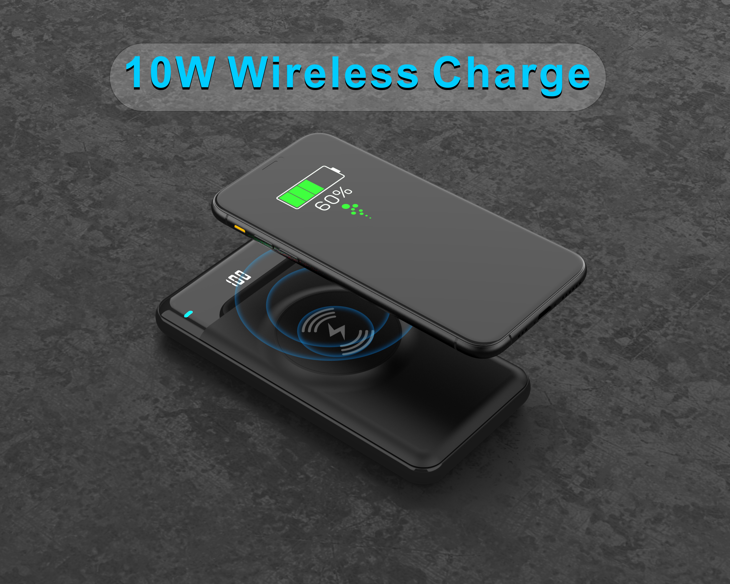 small OEM mobile customized logo Qi wireless charge powerbank 10000 mAh