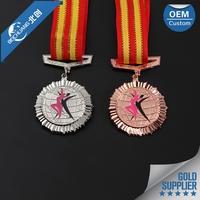 2017 Factory wholesale custom souvenir championship sport zinc alloy medal with ribbon