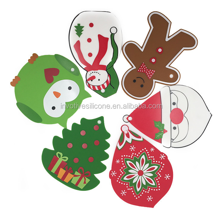Fancy Christmas silicone trivet table mat with custom printing-3