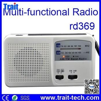 Rd-369 Fashion Design Portable Mini Solar Radio With Torch