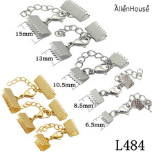 wholesale 15/20/25mm stainless steel connector leather cord crimps ends beads caps lobster swivel clasps extension chains