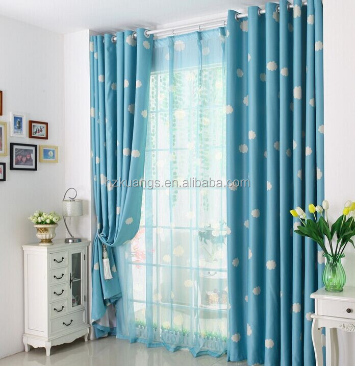 Blue Sky White Cloud Pattern Curtain Fabric For Baby Room Curtain ...