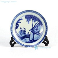 RZHG01-A Hand painted blue and white ceramic decorative disk