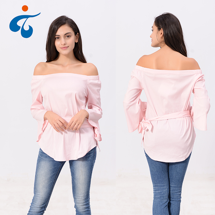 Best selling new design fora do ombro alta moda lady tops blusa de algodão do estiramento