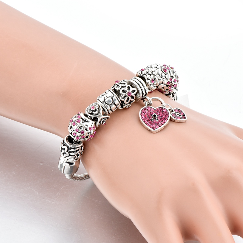 2017 Longway Nieuws Roze Crystal Silvel Keten Liefde Hanger Armband
