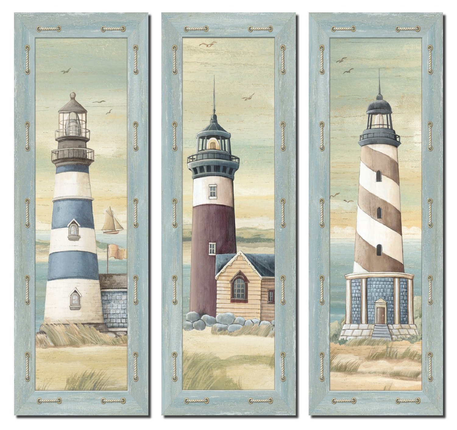 Buy Set Of 3 Lighthouse Art Prints Beach Country Coastal